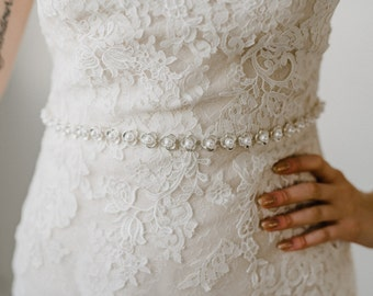Pearl Bridal Sash | Pearl Floral Bridal Belt | Pearl Bridesmaid Sash Belt | Thin Pearl Bridal Sash l Silver Elsie Sash
