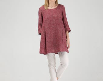 Subtly Textured Oversized Linen Tunic with Pockets / Red Linen Maternity Tunic / Red Linen Top With Pockets / Red Linen Maternity Top