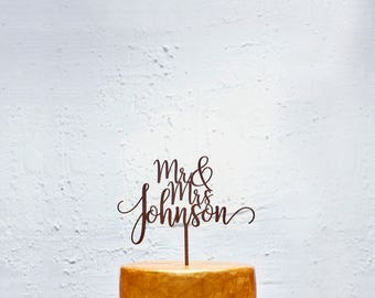 Customized Wedding Cake Topper, Personalized Cake Topper for Wedding, Custom Personalized Wedding Cake Topper, Last Name Cake Topper # 19