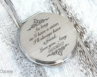 Personalized engraved pocket mirror | compact mirror | wedding gift | sister of the bride gift | birthday