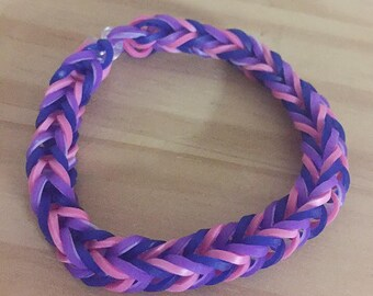 Rainbow Loom Colorful Fishtail Simple Bracelet Bisexual Awareness (Proceeds donated to the Human Rights Campaign)