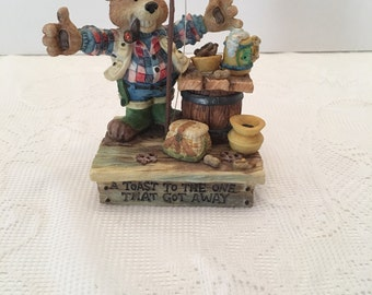 Moose Creek Crossing ~ A Toast To The One That Got Away ~ Collectible Figurine ~ 1996 ~ Enesco Corp ~ David Olsen designer ~ Vintage