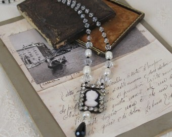 Rhinestone and Cameo Assemblage Statement Necklace