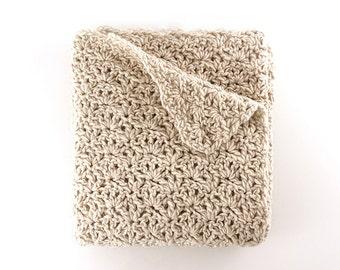 Wool Blanket – Wool Throw - Crochet Blanket – Alpaca Merino – Beige Throw – Chunky Coverlet – Handmade Blanket – Throw Blanket