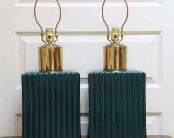 Vintage Laurel lamps in teal and brass ceramic