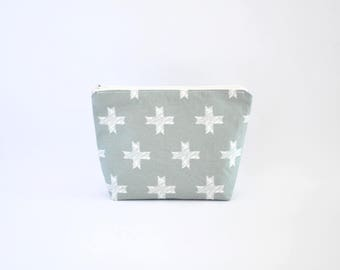 Crosses Cosmetic Bag, Zipper Pouch, Makeup Bag, Makeup Pouch, Cosmetic Pouch, Toiletry Bag - Grey Silver