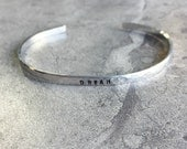 """Create Your Own SILVER Hand Stamped Hammered Thin Stacking Style Cuff Bracelet Personalized Inspirational  Aluminum 1/8"""" x 6"""""""