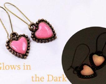 glow in the dark sister gift heart earrings love jewelry gift blush pink earrings friends jewelry wife gift pink earrings cute earrings й01