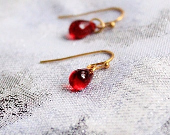 14k gold earrings ruby dangles red jewelry gift for her valentines gifts small red earrings granddaughter gift for niece mini earrings пя162