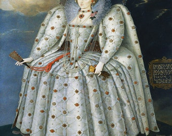 "Marcus Gheeraerts ""Queen Elizabeth I"" 1592  Reproduction Digital Print Matriarch Ruler Queen of England and Ireland The Ditchley Portrait"