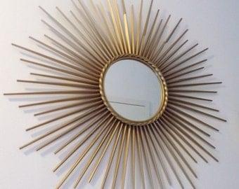 French Sunburst mirror vintage 1950 Chaty Vallauris - starbust mirror -  vintage iron mirror - mid