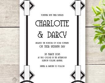 Art Deco Wedding Invitation template, 5x7 printable invitations, Gatsby. Edit in Word or Pages