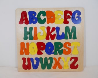Wooden Alphabet Puzzle With Pegs, ABC Puzzle, Handmade