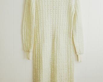 Vintage 1970's Wool Knit Sweater Dress M L XL Kollection 38 40 Sheer Long Sleeve