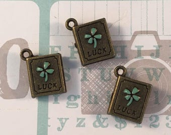 3 Green Clover Luck Book Charms - Pendants - Engraved Word - Antique Bronze Tone Metal - 3 Pieces