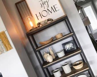 lets stay home framed wood sign