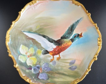 Limoges French Porcelain Hand Painted Game Bird Plate Flambeau Antique Victorian Decor