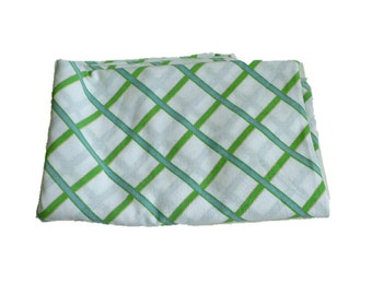 Vintage 1960's Flat Sheet by Cannon Monticello - Twin Size Top Bed Sheet -  Green & Blue Grid / Plaid Design - Retro Mid Century Bedding!