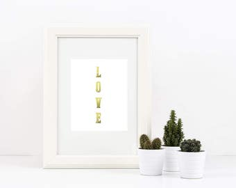 "Instant Download ""LOVE"" print with digital gold foil"