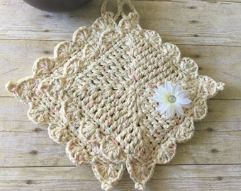 Beige Pot Holders, Crochet Pot Holders, Hot Pad, Kitchen Pot Holders Natural Pot Holder, Cotton Pot Holders, Gift for Her, Ready to Ship