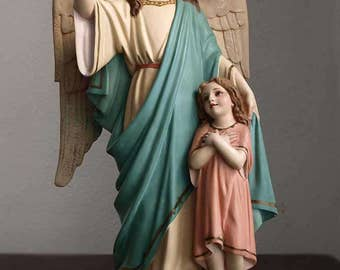 Guardian Angel with Child, Protect from the Devil Statue Glass Eyes Spain Olot Religious Art Antique /399