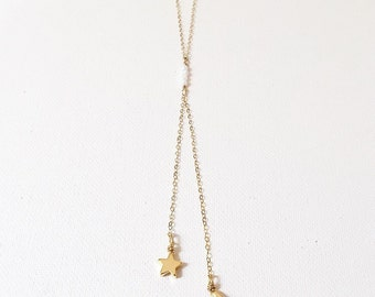 The Celestial Drop, moon and star drop necklace with opal detail on 14k gold chain