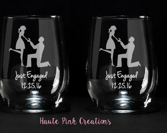 Newly Engaged, Engagement Gift for Couples, Best Engagement Gift, Bridal Gift, Just Engaged, Just Engaged Gift, Etched Wine Glass, Set of 2
