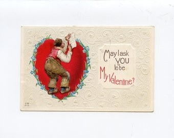 Vintage Valentine's Day Postcard Frances Brundage Old Man Writing Note in Heart Published by Edward Nash Used Rutland Vermont - 7612Pa