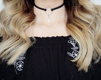 Circle ring choker, Ring Necklace, Circle Necklace, Choker Necklace, Ring Choker, Choker, Feather Charm Choker, Boho Necklace, Suede Choker