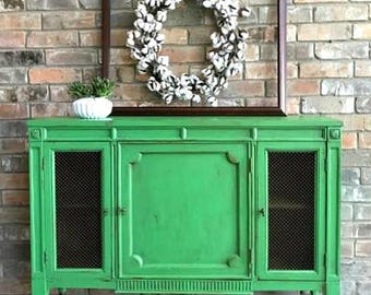 Gorgeous Vintage Mid Century Cabinet / Bar - Hand Painted **Local Pickup / Delivery Only!**