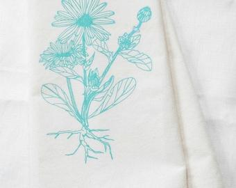 Flower Tea Towel - Flour Sack Cotton - Calendula Blossom - Botanical Print - Tea Towels - Dishcloth - Kitchen Towels - Flour Sack Towels