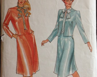Butterick 3619 - 1980s Bow Tie Blouse, Jacket, and Skirt - Size 12 Bust 34