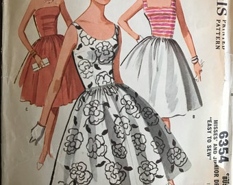 McCalls 6354 - 1960s Easy Sleeveless or Strappless Dress with Four Gore Flared Skirt - Size 14 Bust 34