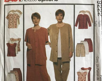 McCalls 9222 - Easy to Sew Unlined Jacket, Dress, Top, Pants, and Shorts - Size 18W 20W 22W 36 38 40