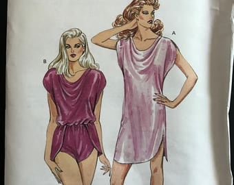 Kwik Sew 1462 - 1980s Teddy or Nightgown with Front Neckline Drape - Size XS S M L