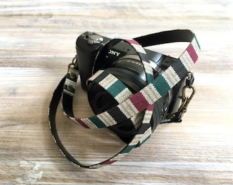 Minimalist Camera Strap - Grey Stripe Aztec Design DSLR Strap - Limited Edition Camera Strap - Photography and Camera Geeks