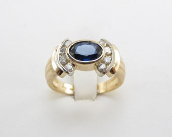 14K Yellow Gold Diamond And Sapphire Ring, 14k Gold Gemstones Ring Size 7 1/2