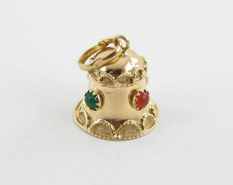 Vintage 18K Yellow Gold Bell Charm Cabochon Emerald And Amber Moveable Pendant