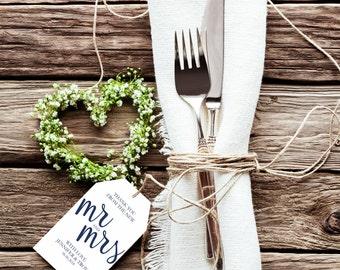 Navy Thank You Wedding Tags, Rustic Wedding Tag, Gift Tag, Wedding Favor, Thank you tag printable, editable pdf, instant download