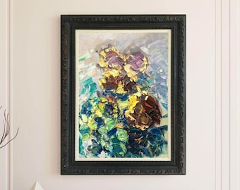 Abstract Art Sunflowers Painting Flowers Painting Palette Knife Thick Layers Impasto Texture Expressionist Art Agostino Veroni Oil Painting