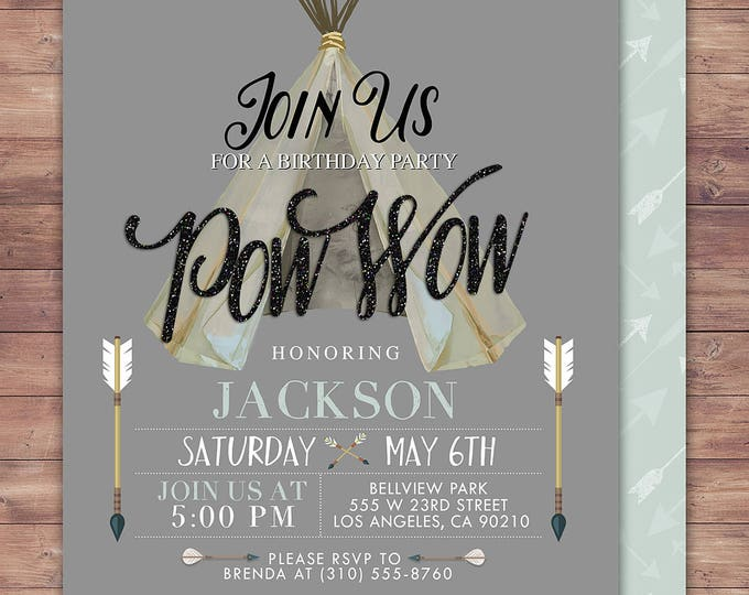 TEEPEE Birthday Invitation, Aztec birthday Invite, invitation, Aztec, arrow, pow wow, BOHO, Tribal, first birthday, 1st birthday, Gold