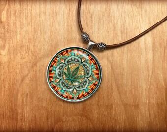 Marijuana Mandala Crystal Pendant Necklace.  Genuine Leather with silver accents from the original artwork of Dan Morris.  ©Dan Morris 2017