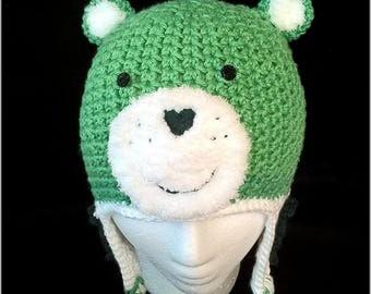 Hand Crochet Lucky Care Bear Inspired Earflap Beanie Hat Newborn-Adult Lg