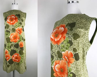 1960s Green Shift Dress with Large Orange Flowers // 60s Orange and Green Floral Shift Dress