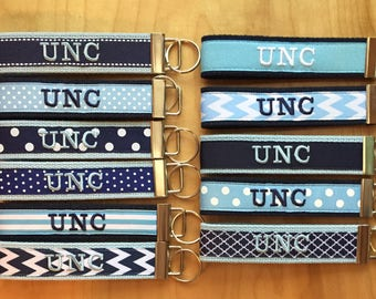 UNC Key fob - UNC Keychain - UNC Wristlet - Carolina -Tarheels - Light Blue and White Key Fob -Graduation