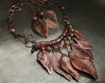 Statement necklace set, hand forged rustic metal leaf design, Czech glass