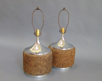 Mid-century Table Lamps; Chrome and Cork; Cork Lamps; Chrome Lamps; Mid-Century Modern Lamps;