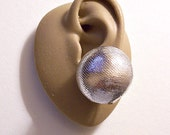 Big Glitter Buttons Clip On Earrings Silver Tone Vintage Fabric Cover Domed Round Large Shiny Reflective Ball Discs