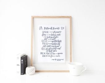 DIGITAL DOWNLOAD | buttermilk biscuits printable | hand lettered recipe | kitchen printable | recipe printable | ingredient printable