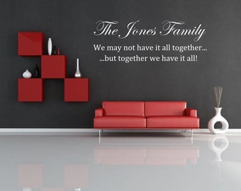 Family wallsticker personalised Custom  Wall sticker, decal ,quote wall art home decor removable diy stickers sign words sticky letters